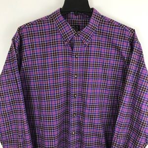 Jos A Bank Big Button Down Purple Plaid Shirt 2XB